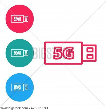 Red Line 5g Modem For Fast Mobile Internet Icon Isolated On White Background. Global Network High Sp