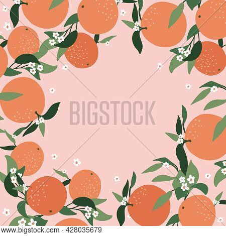 Postcard From Abstract Branches Of Orange, Leaves And Color Pink Background. Nature Background Vecto