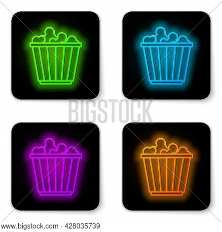 Glowing Neon Line Popcorn In Cardboard Box Icon Isolated On White Background. Popcorn Bucket Box. Bl