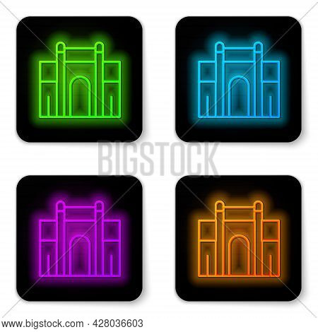 Glowing Neon Line India Gate In New Delhi, India Icon Isolated On White Background. Gate Way Of Indi
