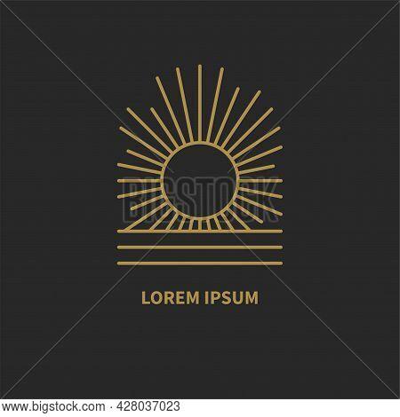 Bohemian Retro Linear Logo With Sun, Rays And Sea. Minimal Line Golden Minimalistic Geometric Icon I
