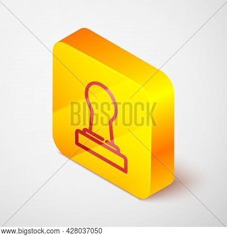 Isometric Line Coffee Tamper Icon Isolated On Grey Background. Yellow Square Button. Vector