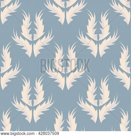 Stylized Flame Shape Leaf Seamless Vector Pattern Background. Duck Egg Blue And Cream White Beige Vi