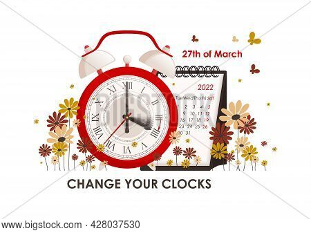 Daylight Saving Time Concept. The Clocks Moves Forward One Hour. Turning To Winter Or Summer Time, A