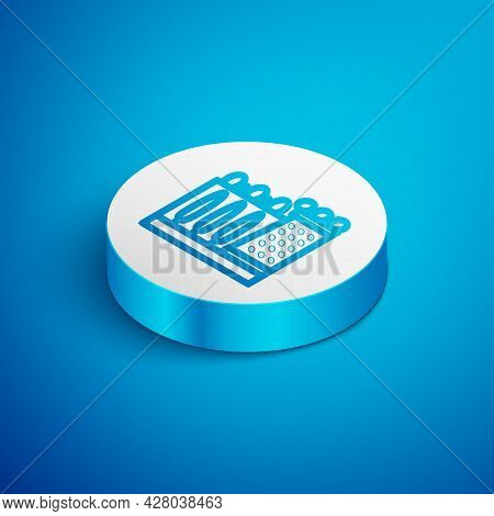 Isometric Line Salvador Dali Museum In Figueres, Spain Icon Isolated On Blue Background. White Circl
