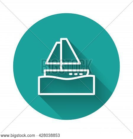 White Line Yacht Sailboat Or Sailing Ship Icon Isolated With Long Shadow. Sail Boat Marine Cruise Tr
