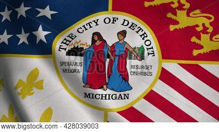 Detroit City Flag, City Of Usa Or United States Of America, Waving At Wind. 3d Rendering
