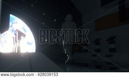 Astronaut Walking In Futuristic Spaceship, Sci-fi Shuttle Corridor. Technology And Future Concept. 3