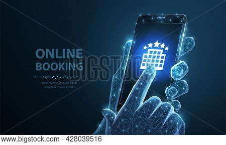 Booking Online. Smartphone In Man Holding Hand And Finger Touching Hotel Icon. Rent Mobile App, Apar