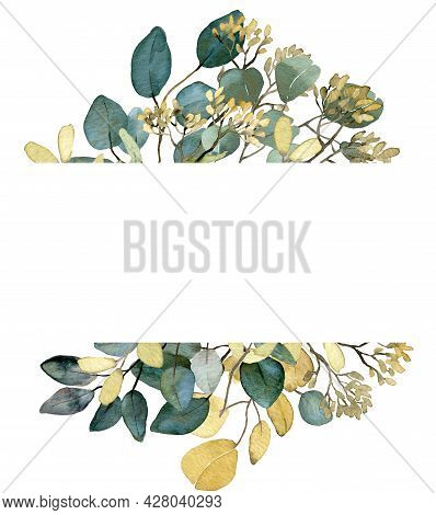Watercolor Summer Greenery Frame. Seeded Eucalyptus Branches, Spring Greenery. Wedding Floral Invita