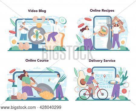 Tasty Fried Eggs Online Service Or Platform Set. Scrambled, Fried,
