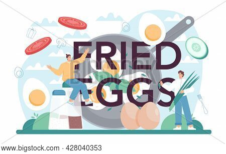 Fried Eggs Typographic Header. Scrambled, Fried, Poached Eggs