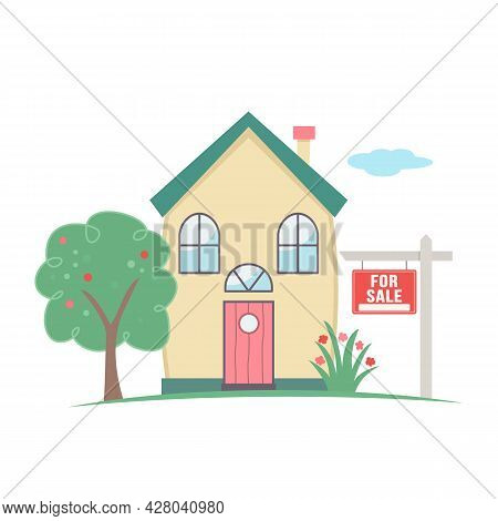 Signpost Home Sale. Cute House With Green Grass, Tree And Lawn. Real Estate Business. Vector Illustr