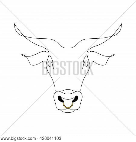 Vector Illustration Of A Bull's Head. Bull Strength Logo. Silhouette Of Cattle. Calf. Continuous Lin