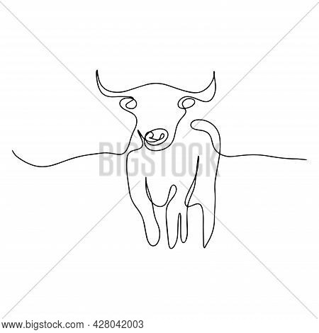 Drawing Of A Continuous Line Of Cattle. Continuous Line Modern Illustration. Silhouette Of A Bull, B