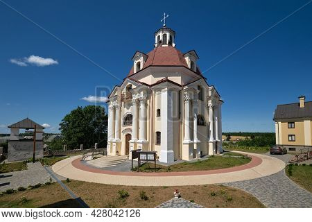 Old Ancient Church Of Our Lady Of The Scapular At The Carmelite Monastery In Myadel, Minsk Region, B