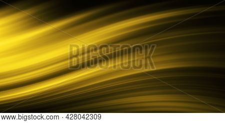 Abstract Gold Wave Lines On Black Background, Soft Gold Wave, Abstract Background