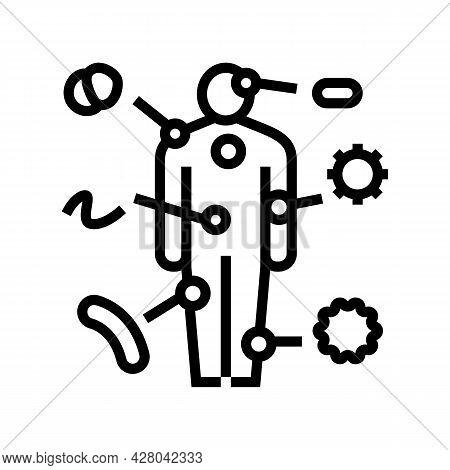 Autoimmune Disease Line Icon Vector. Autoimmune Disease Sign. Isolated Contour Symbol Black Illustra