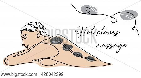 Spa, Hot Stones Massage. Persons Back Vector Banner, Poster, Background, Signboard. One Continuous L