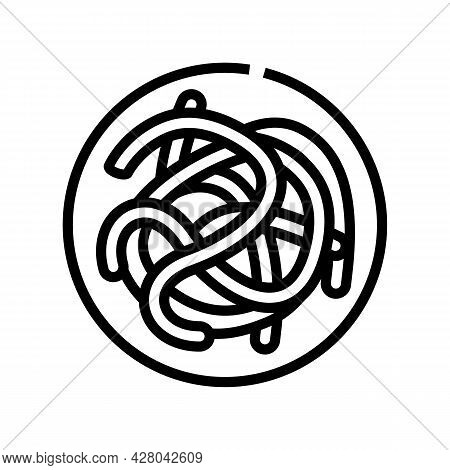 Parasitic Worms Ascaris Line Icon Vector. Parasitic Worms Ascaris Sign. Isolated Contour Symbol Blac