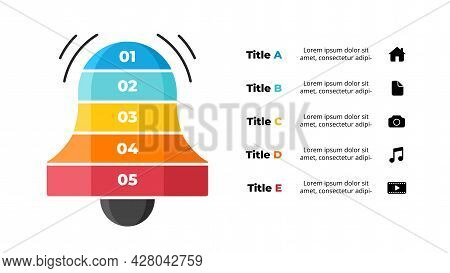 Creative Vector Notification Infographic Template. Abstract Social Media Diagram. Bell Ring Symbol.