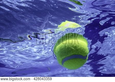 Tennis Summer Concept, Tennis Ball Underwater, Swimming Pool, Summertennis Camp
