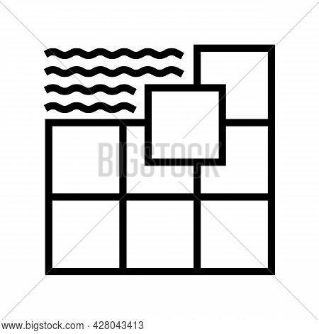 Ceramic Tile Line Icon Vector. Ceramic Tile Sign. Isolated Contour Symbol Black Illustration