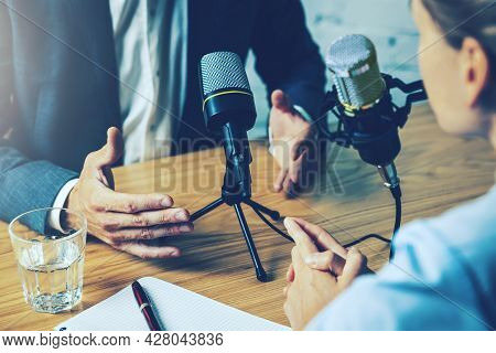 Radio Interview, Podcast Recording - Business People Talking In Broadcasting Studio