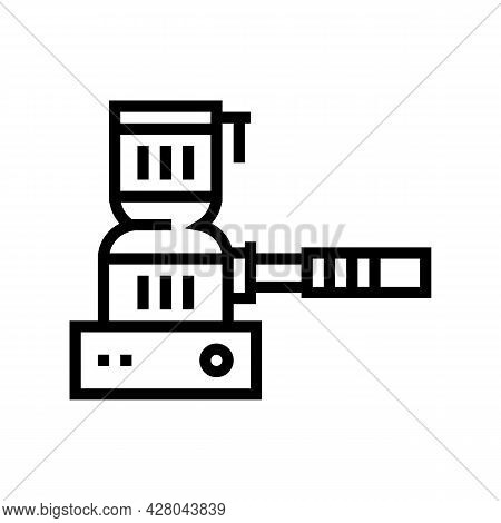 Hookah Coal Burner Line Icon Vector. Hookah Coal Burner Sign. Isolated Contour Symbol Black Illustra