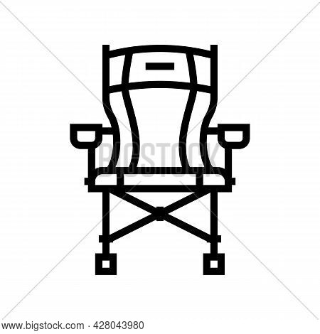 Portable Hunting Chair Line Icon Vector. Portable Hunting Chair Sign. Isolated Contour Symbol Black