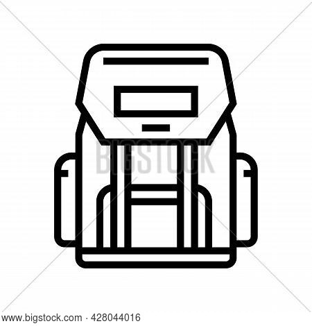 Hiking Backpack For Hunting Line Icon Vector. Hiking Backpack For Hunting Sign. Isolated Contour Sym