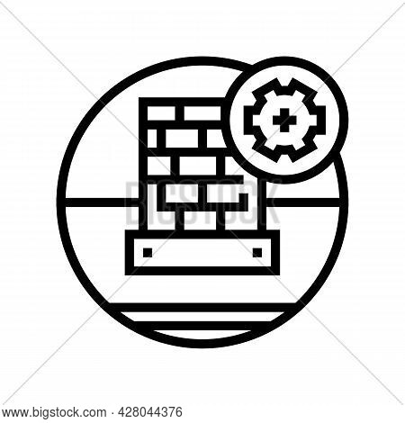 Lead Flashing On Roof Line Icon Vector. Lead Flashing On Roof Sign. Isolated Contour Symbol Black Il