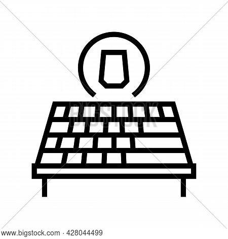 Asphalt Shingles Roof Line Icon Vector. Asphalt Shingles Roof Sign. Isolated Contour Symbol Black Il