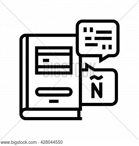 Spanish Language School Lesson Line Icon Vector. Spanish Language School Lesson Sign. Isolated Conto