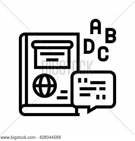 English School Lesson Line Icon Vector. English School Lesson Sign. Isolated Contour Symbol Black Il