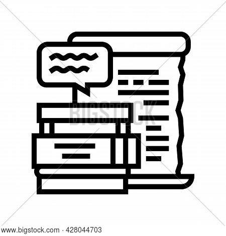Literature School Lesson Line Icon Vector. Literature School Lesson Sign. Isolated Contour Symbol Bl