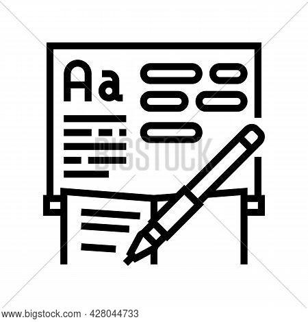 Writing School Lesson Line Icon Vector. Writing School Lesson Sign. Isolated Contour Symbol Black Il