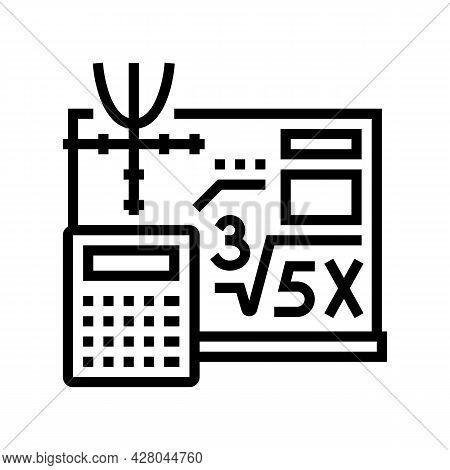 Math School Lesson Line Icon Vector. Math School Lesson Sign. Isolated Contour Symbol Black Illustra
