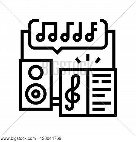 Music School Lesson Line Icon Vector. Music School Lesson Sign. Isolated Contour Symbol Black Illust
