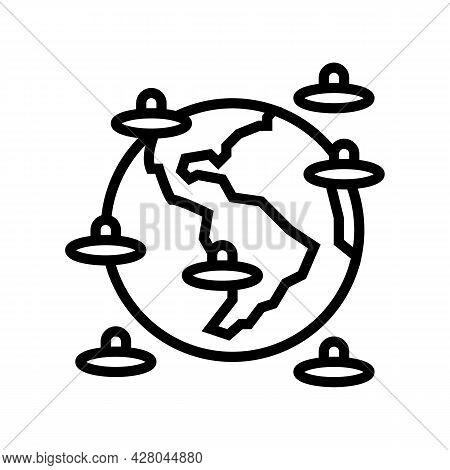 Alien Invasion Of Planet Line Icon Vector. Alien Invasion Of Planet Sign. Isolated Contour Symbol Bl