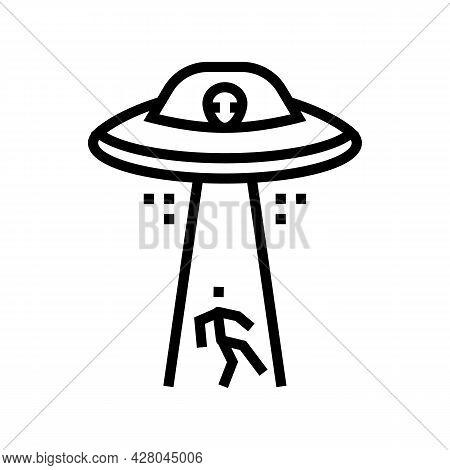 Alien Abduction Line Icon Vector. Alien Abduction Sign. Isolated Contour Symbol Black Illustration