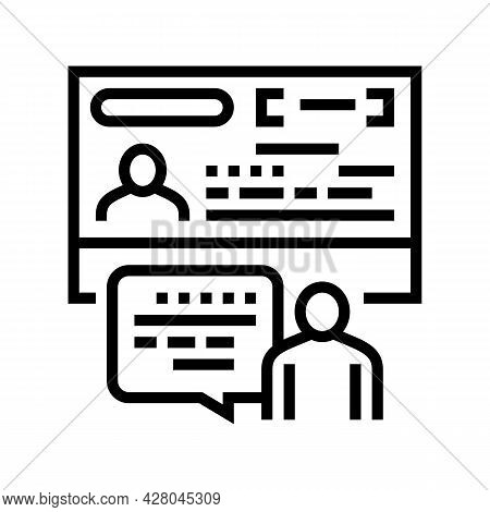 Visitor Visa By Invitation Line Icon Vector. Visitor Visa By Invitation Sign. Isolated Contour Symbo