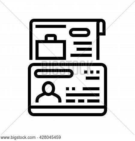 Work Visa Line Icon Vector. Work Visa Sign. Isolated Contour Symbol Black Illustration
