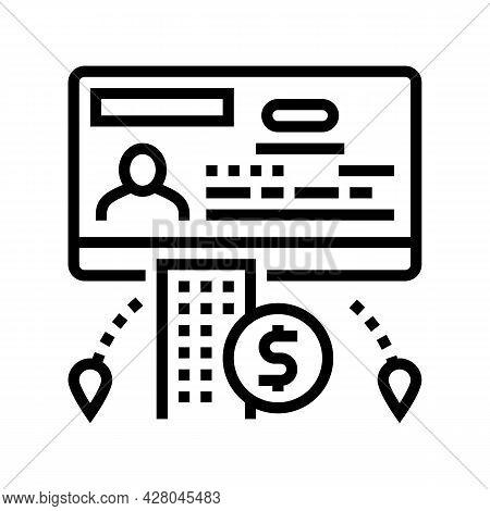 Business Visa Line Icon Vector. Business Visa Sign. Isolated Contour Symbol Black Illustration