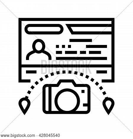 Tourist Visa Line Icon Vector. Tourist Visa Sign. Isolated Contour Symbol Black Illustration