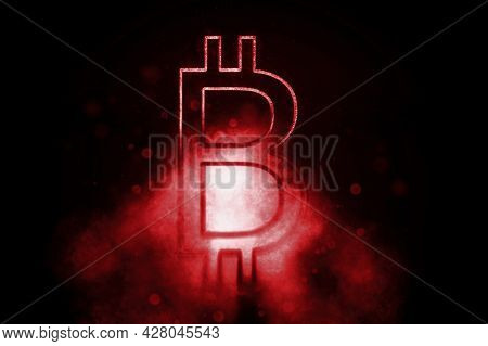 Bitcoin Symbol, Btc Crypto Currency Symbol, Blockchain Cryptocurrency, Blue Symbol