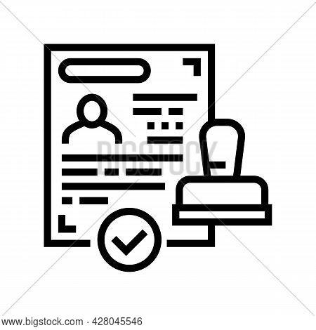Successful Visa Obtaining Line Icon Vector. Successful Visa Obtaining Sign. Isolated Contour Symbol