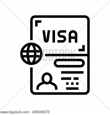 Permitting Document Visa Line Icon Vector. Permitting Document Visa Sign. Isolated Contour Symbol Bl