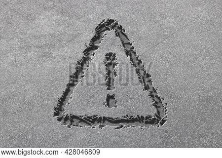Danger Sign, Hazard Warning Attention Sign, Rugged, Silver Background