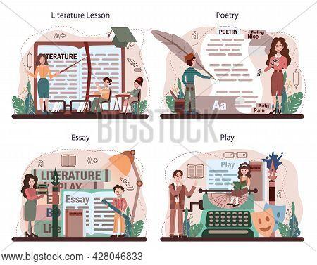 Literature School Subject Set. Study Ancient Writer And Modern Novel.